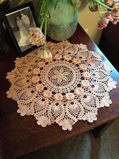 Crochet Doily Made to Order Doily in Peach Color Pineapple