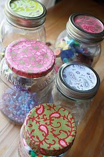 how to mod podge jar lids. great idea if you're going to give things like cookie mixes or snacks in jars!