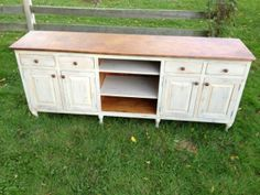 """This sideboard offers a wonderful mix of material and with an artistic touch--made of reclaimed white pine barn wood, milk painted drift wood with 90% white added, size 90""""W x 20""""D x 36""""H, queen anne style feet, 4-raised panel doors, 4-drawers, open adjustable shelves in the middle, rustic copper knobs, the top is hammered copper with our patina. - See more at: http://furniturefromthebarn.com/reclaimed-barnwood-sideboards-details.php?11#sthash.s1OKRoQB.dpuf"""