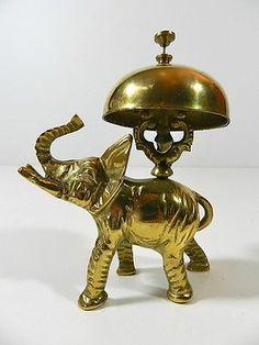 Antique Hotel Desk Bell - Service Bell - Brass Bell - Bronze Elephant Bell