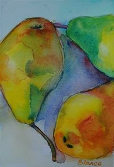 Pear Dance - Media - Artist Daily original watercolor by Celia Blanco watercolorsbyceliablanco.com