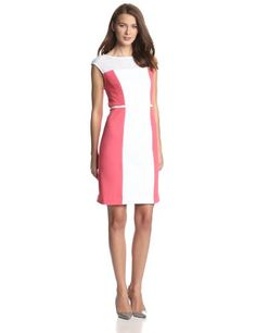 Sandra Darren Women's Sleeveless Color Block Side Paneled Dress, Pink/Peaches/Ivory, 16 Sandra Darren
