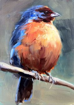 Mountain Finch 2010, oil on wood, 5 x 3.5 in. by Shauna Finn