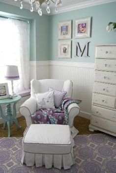 Mint and purple nursery by elsie