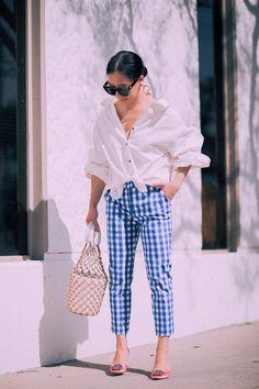 Spring Style, Gingham Pants & Manolo Blahnik Hangisi Mules