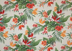 30lohi vintage Hawaiian vintage Hawaiian  All-Over floral. Stylized, brightly-colored bird of paradise, plumeria (frangipani), monstera, palm fronds and leaves. Add Discount code: (Pin10) in comment box at check out for 10% off sub total at BarkclothHawaii.com