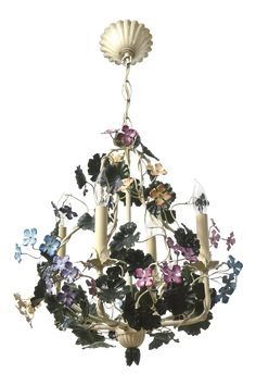 Tole Flower Chandelier with multicolor flowers. Restored original finish, completely rewired and ready to hang. Italian C. Chandelier For Sale, French Chandelier, Flower Chandelier, Italian Chandelier, Elegant Chandeliers, Diy Chandelier, Fairytale Room, Fairytale Cottage, Hanging Wedding Decorations