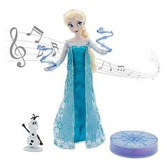 Disney Elsa Deluxe Singing Doll Set - 11'' | Disney StoreElsa Deluxe Singing Doll Set - 11'' - Sing along with Elsa and recreate her iconic movie moment! This lovely 11'' doll sings when you twirl her hand and includes two complete costumes, icy power accessories, and Olaf figurine. Light-up Elsa's snowflake for more <i>Frozen</i> fun!