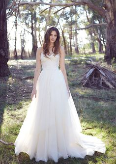 Lace wedding dress with a tulle skirt