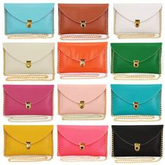 New Candy Colours Envelope Clutch Bag Shoulder Gold Chain Pink Brown Black White Work Purse, Work Bags, Envelope Clutch, Clutch Bag, Best Work Bag, Luxury Purses, Womens Purses, Leather Chain, Pink Brown
