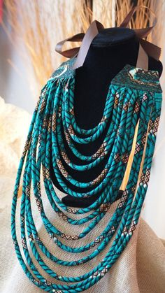 Ankara/ African Wax Print Tribal Multi Layered Rope Necklace Tutorial, Beginners sewing projects, sewing tutorials, DIY Jewelry