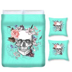 Sugar Skull Bedding Duvet Set Comforter Cover by FolkandFunky