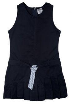 Genuine School Uniform Girls Navy Belted Pleated Uniform Jumper ** For more information, visit