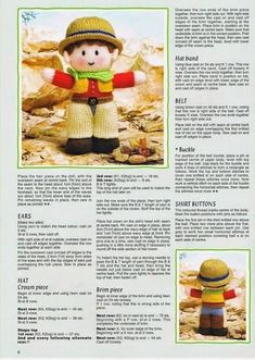 Knitted Doll Patterns, Knitted Dolls, Knitting Patterns, Knitting Toys, Knitting Ideas, Jean Greenhowe, Doll Toys, Knit Crochet, Diy And Crafts