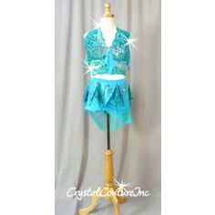 Blue & Green Bra Top & Skirt with Attached Booty Shorts - Swarovski Rhinestones - Size AS Dance Moms Costumes, Custom Dance Costumes, Dance Outfits, Costumes Couture, Group Dance, Perfect Wardrobe, Dancing In The Rain, Prom Dresses, Formal Dresses