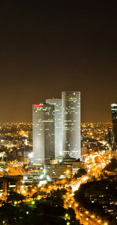 Tel Aviv, Israel Skyline at Night, Azrieli Towers, my favorite architecture in Tel Aviv!