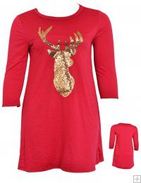 RED CASUAL DRESS WITH EMBELLISHED GOLD SEQUIN DEER  WHOLESALE PLUS SIZE DRESSES  D1176-17 PLUS SEQUIN DRESS UNIT PRICE$9.75 1-1-1 PACKAGE3PCS