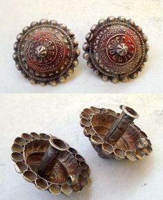 India | Vintage silver earplug earrings from Rajasthan.