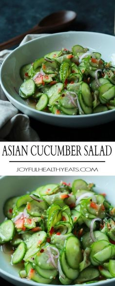 An easy to make Asian Cucumber Salad that's full of crunchy cucumber, rice wine vinegar, and a few secret ingredients! Can be served as a refreshing summer salad or the condiment to a sandwich! | http://joyfulhealthyeats.com