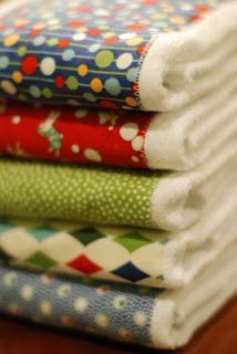 Burp cloths made with cloth diapers.