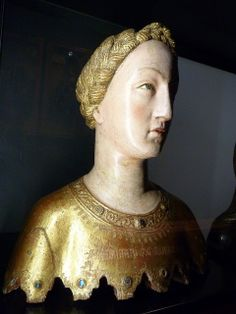 Reliquary bust of Saint Mabille, Siena, ca. 1370-80. Angelo di Nadulccio(?). wood, paint and gold.
