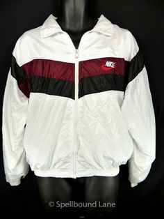 cfea5f9dc28 Nike Vintage Track Windbreaker Jacket Small Satin White Red Tag Made USA  Supernatural Style