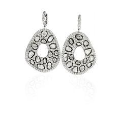 L' Dezen Jewellery Renee White Gold Slice Diamond & White Diamond Earrings