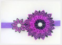 Purple Flower Kanzashi Headband Little Princess Baby Bow