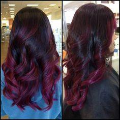 Plum Red Hair Ombre A super dark plum burgundy
