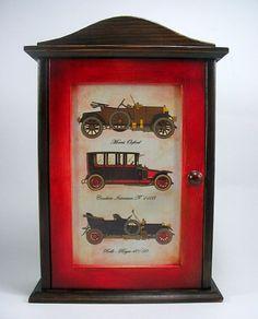 Decoupage Ideas, Decoupage Art, Key Box, Diy Wood Projects, Boxes, Clock, Vintage, Home Decor, Key Hangers