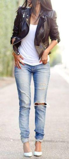 Women's Black Leather Biker Jacket, White Tank, Gold Bracelet, Light Blue Ripped Skinny Jeans, and White Leather Pumps