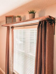 DIY window curtain rod shelf combo is a timeless piece of decor, perfect for any room. Simple and functional window decor this DIY window curtain rod shelf combo is a timeless piece of decor used in my office. Window Shelves, Shelf Over Window, Window Shelf For Plants, Wall Shelves, Window Curtain Rods, Decorative Curtain Rods, Diy Curtains, Hanging Curtains, Curtains For Windows