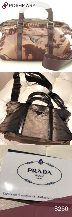 Prada BN1052 2-Way Handbag. Beautiful moire fabric/styling.  Dark brown handles and trim, with little metal feet.  Also includes matching nylon shoulder strap. Pristine condition, used once. Prada Bags Mini Bags