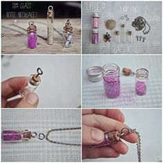 Image shared by Find images and videos about diy, necklace and glass on We Heart It - the app to get lost in what you love. Bottle Jewelry, Bottle Charms, Bottle Necklace, Diy Necklace, Diy Bottle, Bottle Art, Diy Arts And Crafts, Cute Crafts, Resin Crafts