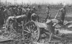 WW1 by Numerius, via Flickr British Royal artillery digs out a 18 pounder from the mud.WW I
