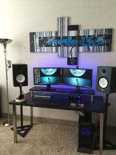 Fantastic and Cool Gaming Desk Setup. Gaming desk setup material selection is mandatory that you should consider as it relates to the strength of the table and the durability of accommodat. Home Recording Studio Setup, Home Studio Setup, Music Studio Room, Studio Ideas, Configuration Home Studio, Computer Desk Design, Design Desk, Computer Desks, Computer Setup