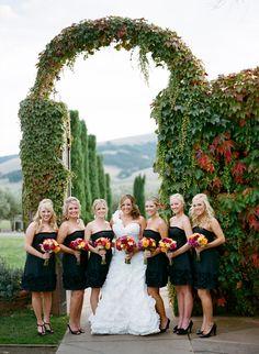 Short, black bridesmaid dresses. Photo by Ryan Ray Photography. www.wedsociety.com #bridesmaids