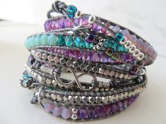 Leather Wrap Bracelet - 5 Wrap with Extra Beaded/Knotted Leather for a 10 Bracelet Look