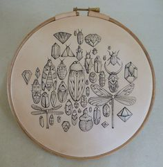 Jewelled Bugs.Tattooed leather art. Original and unique artwork: Insects, beetles ,bugs (embroidery hoop) Handmade
