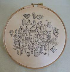 Jewelled Bugs.Tattooed leather art. Original by PuncturedArtefact, £115.00