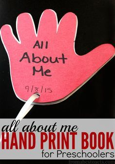 What better way to start an all about me theme unit than to make a book that is shaped just like your hand print! Your preschooler is going to love this! Crafts All About Me Hand Print Book for Preschoolers Preschool Projects, Preschool Books, Preschool Lessons, Preschool Activities, Preschool About Me, All About Me Activities For Preschoolers, Preschool Family Theme, Preschool Classroom Themes, Preschool Social Studies