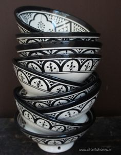 Beautiful Moroccan ceramic bowls.   www.elramlahamra.nl