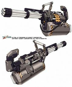 Weapon design from EXTEEL the fast paced sci-fi MMO shooter Gatling Gun Sci Fi Weapons, Weapon Concept Art, Fantasy Weapons, Weapons Guns, Guns And Ammo, Sci Fi Waffen, Future Weapons, Cool Guns, Military Weapons