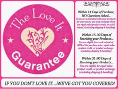 You will LOVE these products, we guarantee it!