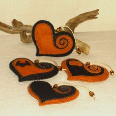Beaded Black and Pumpkin Orange Wool Felt Heart by BJGInspired