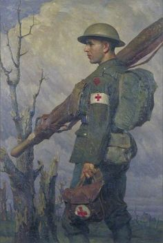 A Royal Army Medical Corps Stretcher-Bearer, Fully Equipped, c.1919 by Gilbert Rogers (1881–1956)