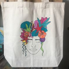 Sea Goddess Hand Painted Canvas Tote Bag Head in the Clouds Series 3a77a81233649