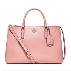 23355cf845 Tory Burch Robinson Double Zip in Rose Sachet NWT 100% Authentic  amp   Brand New