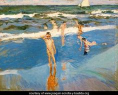 Children at sea. Beach of Valencia - Joaquin Sorolla y Bastida - www.joaquin-sorolla-y-bastida.org