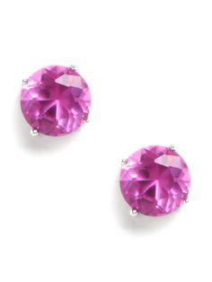 neon fuchsia stud earrings
